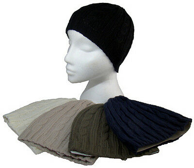 Ladies Womens Chunky Cable Knit Beanie Hat Mixed Colours Winter Warm One Size