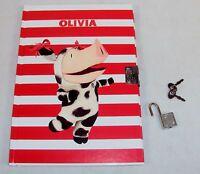 Olivia Lock Diary For Girls Dancing Cowpig , 75 Pages, Hardbound, Lock & Keys