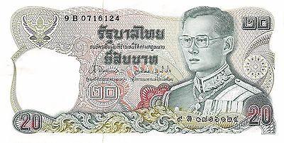 1981 P 88 Series 9 B Sign # 62 Circulated Banknote Dashing Thailand 20 Baht Nd