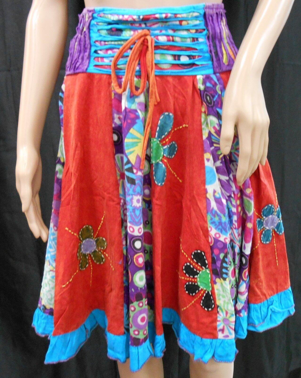 RISING INTERNATIONAL NEPAL Handmade SKIRT Multi-color Patchwork FLOWER APPLIQUE