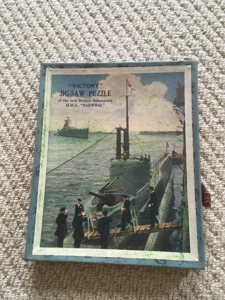 Rare Complete 1935  Victory  Wooden Jigsaw Puzzle RN Submarine H.M.S. Narwhal