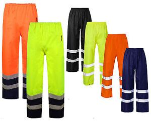 Hi-Viz-Waterproof-Rain-Over-Trousers-High-Vis-Visibility-Mens-Elasticated-Pants