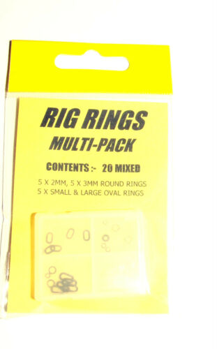 Rig Rings Multi Pack 20 Mixed Shapes and Sizes carp coarse fishing tackle