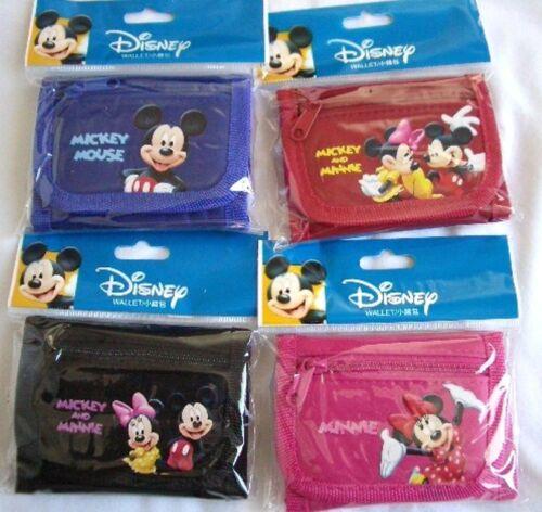 4 pcs Disney Licensed Mickey Minnie Tri Fold Wallet Kid/'s Birthday Pretend Toy