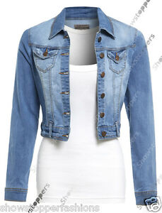 3afb23ce5e73f Details about NEW Womens Denim Jacket Jean Stretch Jackets Ladies Blue Size  8 10 12 14 16