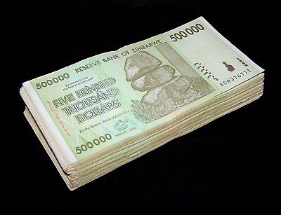 10 x Zimbabwe 500000 500,000 Dollar banknotes-paper money currency-About UNC