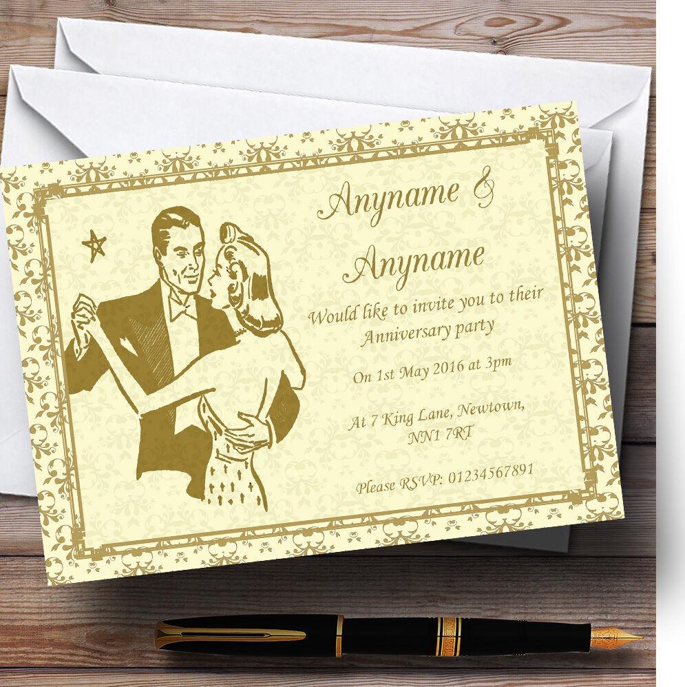 oro Amarillo Clásico Personalizado Aniversario Invitaciones A Fiesta