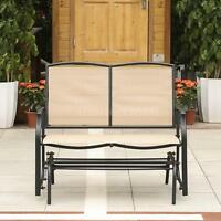 Ikayaa Outdoor Patio Yard Glider Bench Loveseat 2-seat Rocking Chair Beige A5e6 on sale