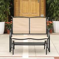 Ikayaa Outdoor Patio Yard Glider Bench Loveseat 2-seat Rocking Chair Beige A5e6 on sale