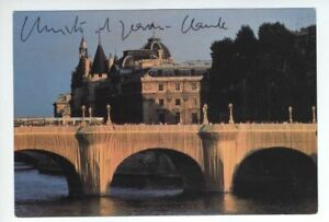 CHRISTO-Jeanne-Claude-autographed-signed-postcard-1985-Pont-Neuf-Paris-Wolfgang