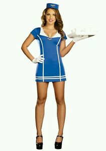 86962cb69df Details about BNIP Fly Me To The Moon Naughty Flight Attendant Women's  Costume Size M