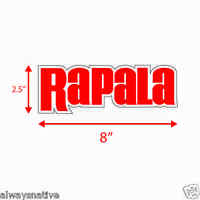 (four) 8in Rapala High Quality Decal Sticker Tackle Box Lures Fishing Boat Truck