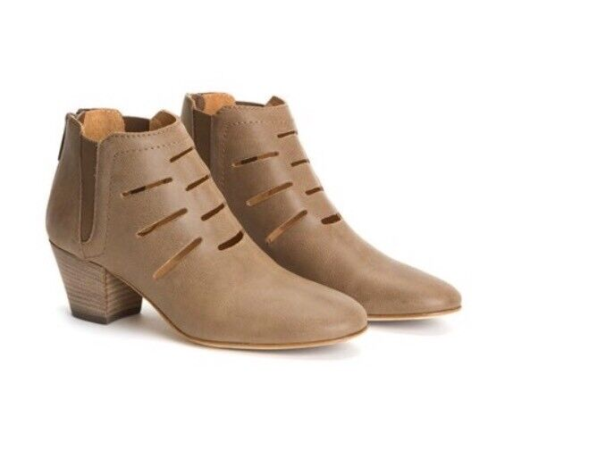 AQUATALIA BOOTIES Freida Cutout Ankle Boots Leather Zip Taupe Brown US 10