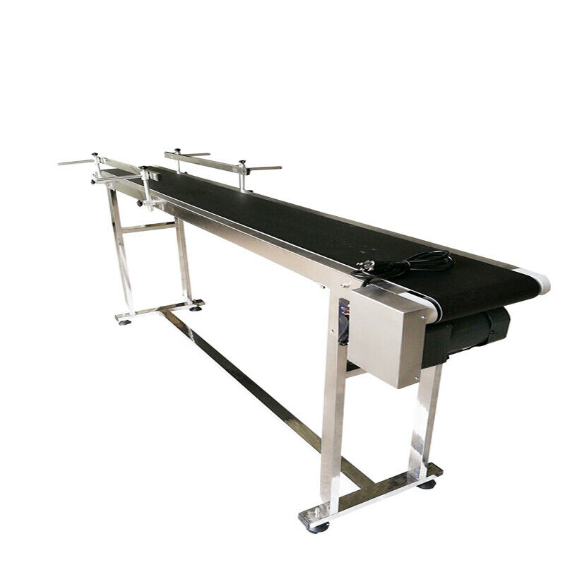 Conveyor Machine with Double Guardrail Industrial Transport Equipment VEVOR PVC Belt Conveyor 59Inch Length 110V Adjustable Automatic Speed in Stainless Steel Electric PVC Conveyor 7.8 Width