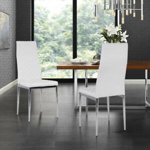Set Of 2 4 Pvc Padded Dining Chair Accent White Chair For Home Restaurant Office Ebay