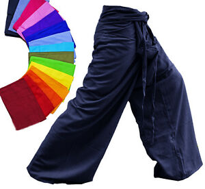 Fisherman-Pants-Troussers-Unisex-Yoga-Kung-Fu-Tai-Chi-Rayon-Cotton-Free-Size