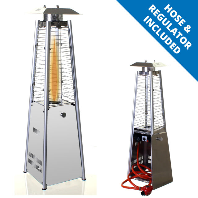 Garden Table Top Patio Heater Stainless Steel Pyramid Outdoor Gas Ed 3kw
