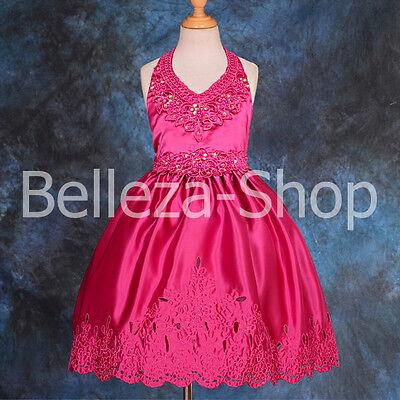 Beaded Satin Halter Dress Wedding Flower Girl Party Pageant Kid Size 3T-10 FG021