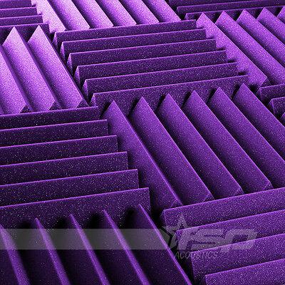 """12 Pack of 2"""" x 12"""" x 12"""" Purple Acoustic Studio Foam Wedge Tiles"""
