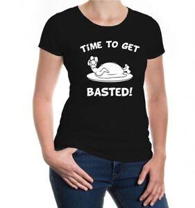 Damen-Kurzarm-Girlie-T-Shirt-Time-to-get-basted-Thanksgiving