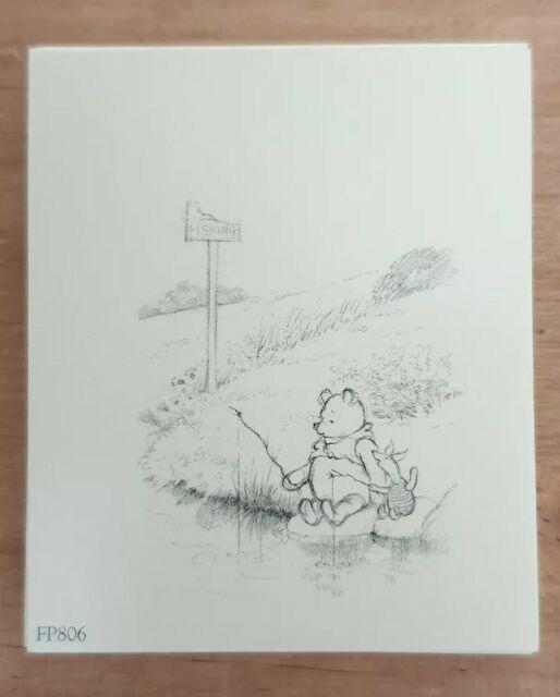 Mini print 6cm × 5cm pooh /& piglet fishing line drawing Winnie The Pooh