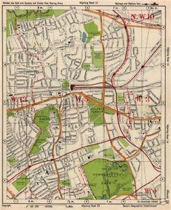 W LONDON. Ealing Park Royal West Acton Town Gunnersbury Park. BACON 1938 map