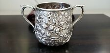 EARLY BALTIMORE COIN SILVER REPOUSSE SUGAR BOWL S. KIRK & SON 1846 1861 5 ozt.