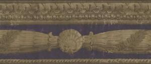Wallpaper-Border-Architectural-Molding-Empire-Gold-Acanthus-Leaf-Swag-on-Purple