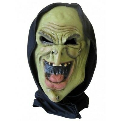 Halloween Latex Face Mask With Hood Green Witch FREE 1ST POST