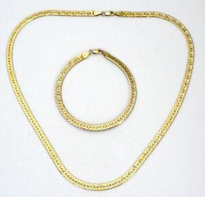 Sterling-Silver-Gold-Plated-Herringbone-Necklace-amp-Bracelet-Set-Italian-33-Grams