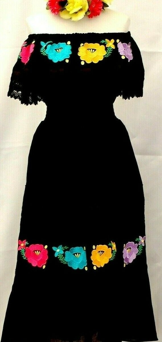 Mexican Off shoulder schwarz Dress Ruffle Lace Ribbon Floral Embroidery elastic1sz