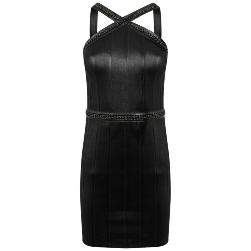 New Topshop Sleeveless Hardware Strap Bandage Bodycon Dress 6-14 Black Khaki