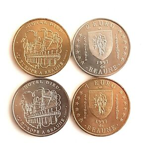 Set Of 4 Coins 1 And 2 Euros France (S1363)