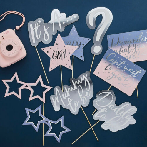 Gender Reveal Party We Wonder What You Are Baby Shower Selfie Photo Booth Props