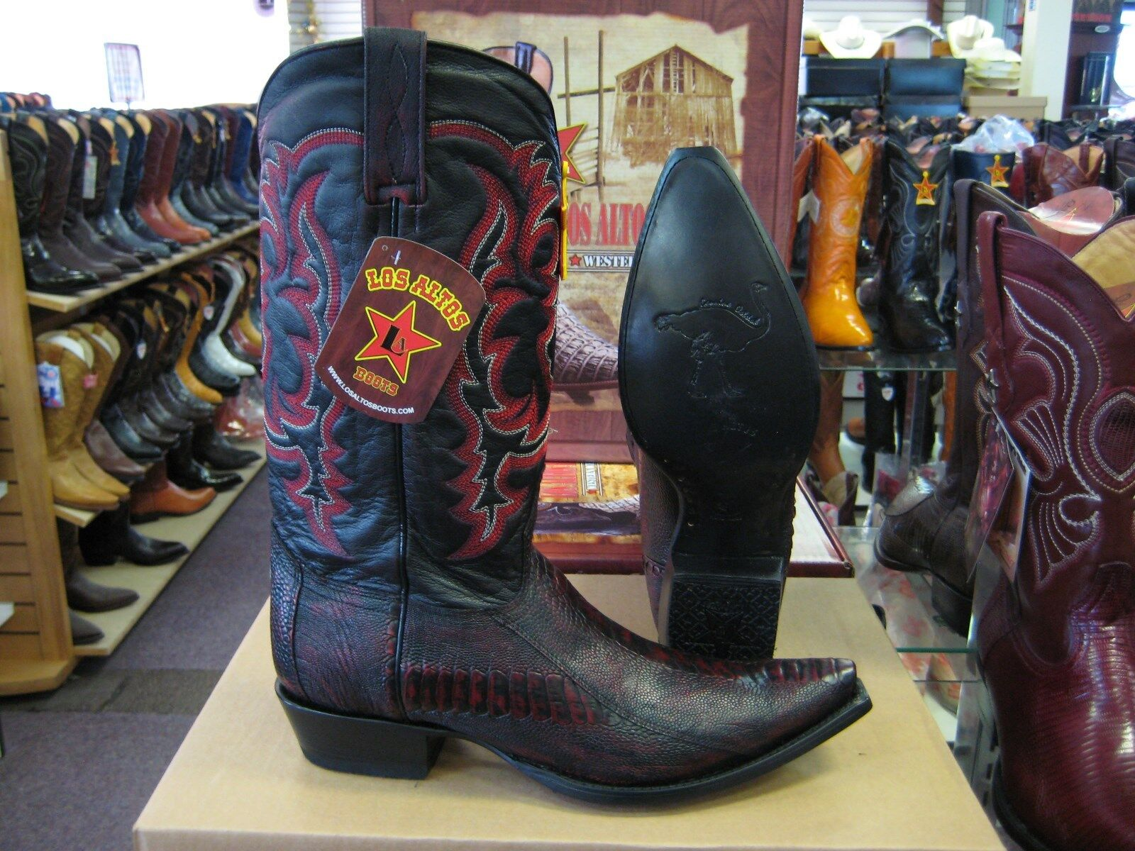 LOS ALTOS CHERRY GENUINE SNIP TOE OSTRICH LEG WESTERN COWBOY BOOT (EE) 94E0518