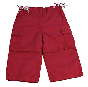 JACADI Girl's Message Bright Red 3/4 Length Trousers Size 8 Years NWT $60