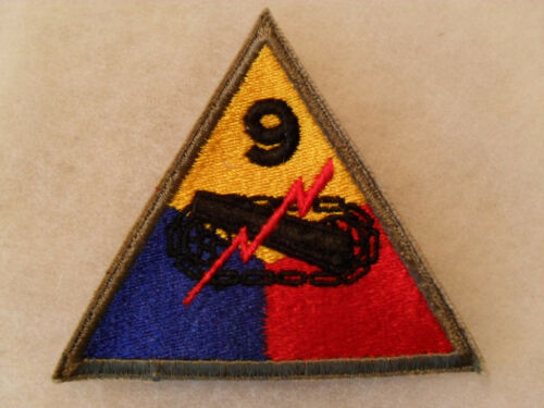 WWII 9TH ARMORED DIV OF ETO FAME TRIANGLE OD BORDER