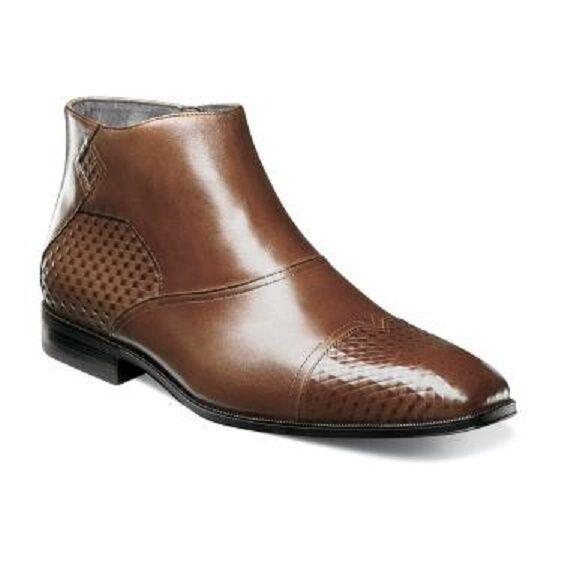 botas Stacy Adams Faramond Para hombre Zapatos Dedo Cremallera Lateral Coñac 25077-221