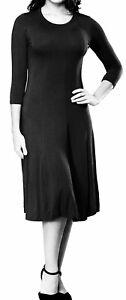 NEW-Woman-039-s-Black-3-4-Sleeve-A-Line-Flattering-Black-Midi-Dress-Size-Large