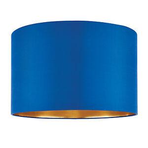 Endon-Boutique-Pantalla-de-Lampara-40-6cm-Azul-Medianoche-seda-dorado-250mm-ALTO