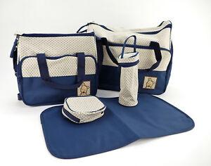 Wickeltasche-Comforkoo-5tlg-Windeltasche-Multifunktionale-Mama-Handtasche-Blau