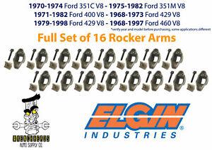 Elgin-Set-of-16-Ford-351C-351M-400-429-460-V8-Rocker-Arm-Kit-with-Stud-amp-Pivot