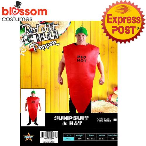 CA933 Red Hot Chilli Pepper Food Funny Adult Unisex Men Vindaloo Mexican Costume