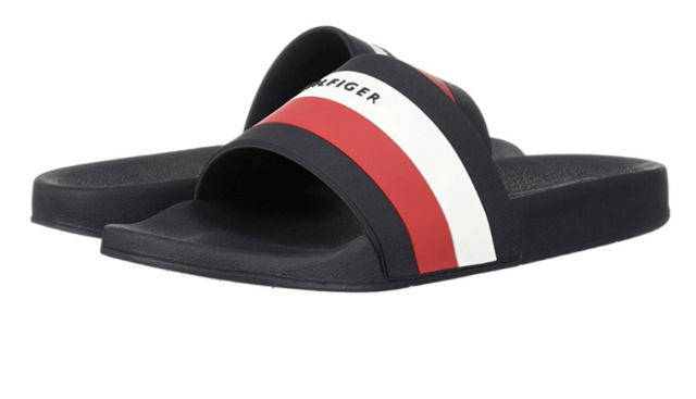 25bbac695a0 Tommy Hilfiger Earthy Slide Dark Blue Red White Flag Spellout Men s ...