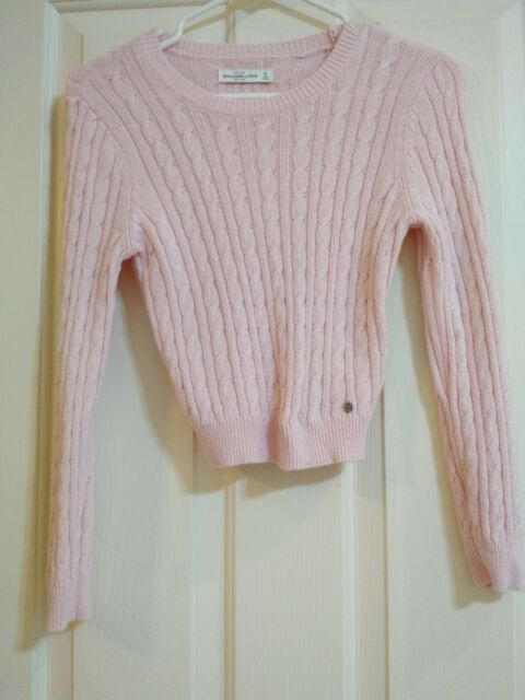 ABERCROMBIE and Fitch GIRLS Sweater Medium PINK Long Sleeve Cable Knit