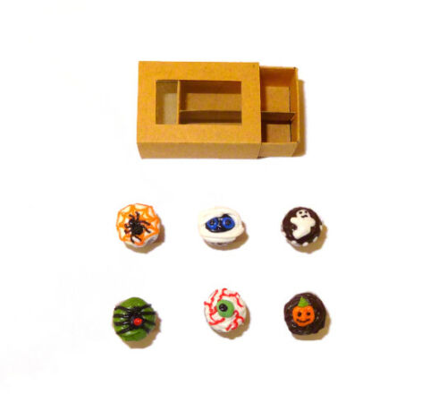 Dollhouse Halloween Cupcakes With Bakery Window Box Handcrafted 1:12 Miniatures