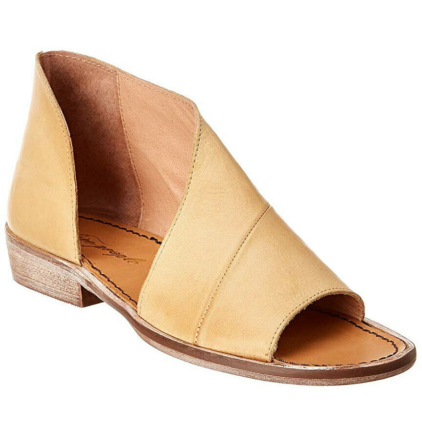 FREE PEOPLE Mont Weiß Asymmetrical Cut-out SANDALS 38 8 Natural Leather NEW