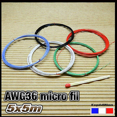 awg36K25# micro fil de câblage mixte awg36 Ø 0,3mm 5 x 5m modélisme électronique