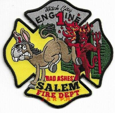 """Salem  Fire Dept. black border/"""" fire patch 4/"""" x 5/"""" size MASS  /""""Witch City"""