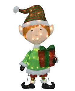ProductWorks-32-Inch-Pre-Lit-Elf-Christmas-Yard-Decoration-50-Lights